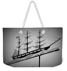 Weekender Tote Bag featuring the photograph Seaman's Bethel Weathervane  by Kathy Barney