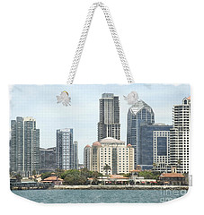Seaport Village And Downtown San Diego Watercolor Weekender Tote Bag