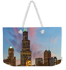Weekender Tote Bag featuring the photograph Sears Tower Sunset by Sebastian Musial