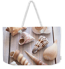 Weekender Tote Bag featuring the photograph Seashell Collection by Jan Bickerton