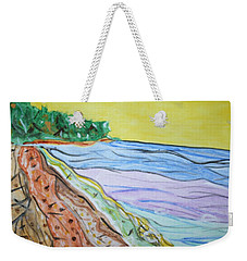 Weekender Tote Bag featuring the painting Seashore Bright Sky by Stormm Bradshaw