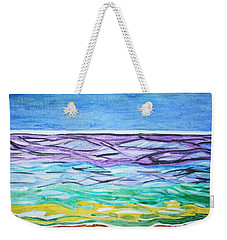 Weekender Tote Bag featuring the painting Seashore Blue Sky by Stormm Bradshaw