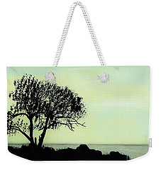 Weekender Tote Bag featuring the drawing Seashore Silhouette by D Hackett