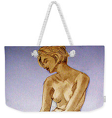Tinted Figure Drawing Of A Seated Female Nude Dreaming Weekender Tote Bag