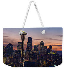Seattle Cityscape Morning Light Weekender Tote Bag by Mike Reid