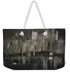 Seattle In The Rain Cityscape Weekender Tote Bag by Dick Bourgault