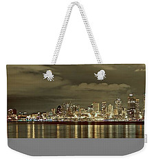 Seattle Lights At Night From Alki Weekender Tote Bag