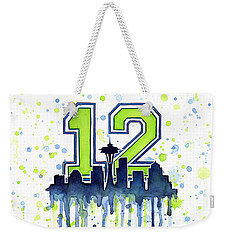 Seattle Seahawks 12th Man Art Weekender Tote Bag by Olga Shvartsur