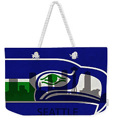 Seattle Seahawks On Seattle Skyline Weekender Tote Bag by Dan Sproul