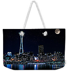 Seattle Skyline At Night With Full Moon Weekender Tote Bag