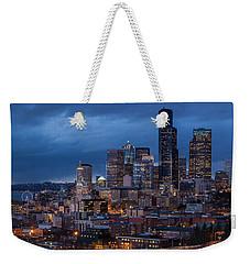Seattle Skyline Evening Drama Weekender Tote Bag by Mike Reid