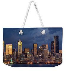 Seattle Skyline Sunset Detail Weekender Tote Bag by Mike Reid