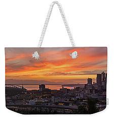 Seattle Under Fiery Skies Weekender Tote Bag by Mike Reid