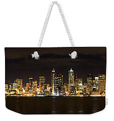 Seattle Waterfront At Night Panoramic Weekender Tote Bag by Chris McKenna