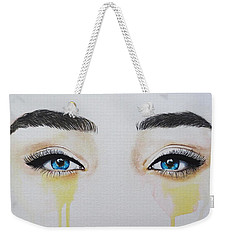 Weekender Tote Bag featuring the painting Seeing Into The Soul Secretive by Malinda  Prudhomme