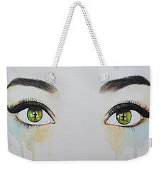 Weekender Tote Bag featuring the painting Seeing Into The Soul Sensitive by Malinda  Prudhomme