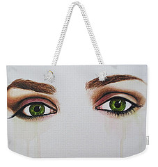 Weekender Tote Bag featuring the painting Seeing Into The Soul Serious by Malinda  Prudhomme