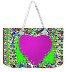 Weekender Tote Bag featuring the photograph Sensual Pink Heart N Star Studded Background by Navin Joshi