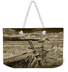 Sepia Colored Photo Of A Wood Fence By The John Moulton Farm Weekender Tote Bag by Randall Nyhof