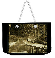 Weekender Tote Bag featuring the photograph Sepia - Country Road First Snow by Absinthe Art By Michelle LeAnn Scott