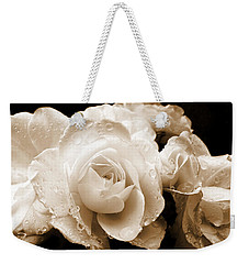 Sepia Roses With Rain Drops Weekender Tote Bag