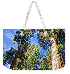 Sequoias Reaching To The Clouds In Mariposa Grove In Yosemite National Park-california Weekender Tote Bag
