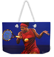 Serena Williams Painting Weekender Tote Bag by Paul Meijering