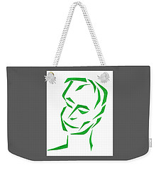 Weekender Tote Bag featuring the mixed media Serene Face by Delin Colon