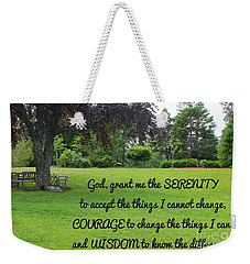 Serenity Prayer And Park Bench Weekender Tote Bag