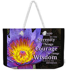 Serenity Prayer With Lotus Flower By Sharon Cummings Weekender Tote Bag