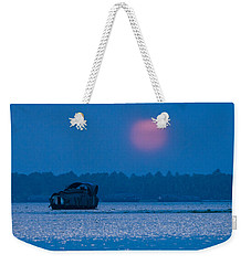 Setting Sun And Boat Weekender Tote Bag