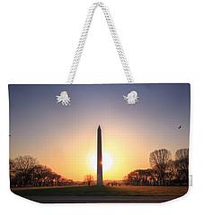 Setting Sun On Washington Monument Weekender Tote Bag by Shelley Neff
