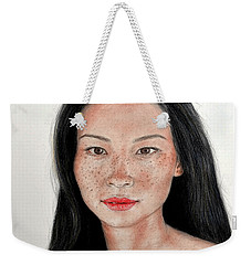Sexy Freckle Faced Beauty Lucy Liu Weekender Tote Bag by Jim Fitzpatrick