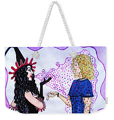Weekender Tote Bag featuring the painting Sexy Witch Puting A Spell On A Boy by Don Pedro De Gracia