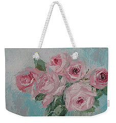 Shabby Chic Pink Roses Oil Palette Knife Painting Weekender Tote Bag
