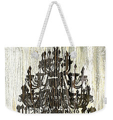 Shabby Chic Rustic Black Chandelier On White Washed Wood Weekender Tote Bag by Suzanne Powers