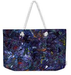 Weekender Tote Bag featuring the painting Shadow Blue Square by James W Johnson