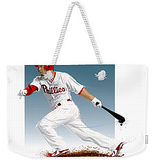 Weekender Tote Bag featuring the digital art Shane Victorino by Scott Weigner