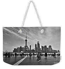 Shanghai Skyline Black And White Weekender Tote Bag