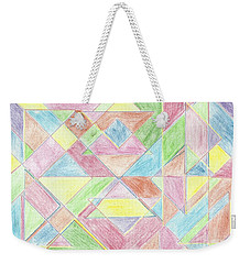 Weekender Tote Bag featuring the drawing Shapes Of Colour by Tracey Williams
