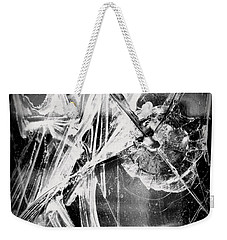 Weekender Tote Bag featuring the photograph Shatter - Black And White by Joseph Skompski