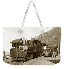 Weekender Tote Bag featuring the photograph Shay No. 498 At The Summit Of Mt. Tamalpais Marin Co California Circa 1902 by California Views Mr Pat Hathaway Archives