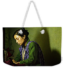 She Sews Into The Night Weekender Tote Bag by Valerie Rosen
