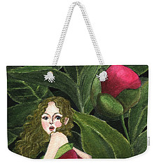 Weekender Tote Bag featuring the painting She Stole A Peony To Wear by Jingfen Hwu