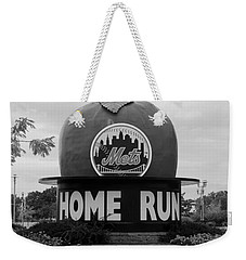 Shea Stadium Home Run Apple In Black And White Weekender Tote Bag by Rob Hans