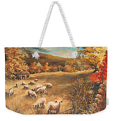 Sheep In October's Field Weekender Tote Bag