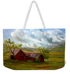 Weekender Tote Bag featuring the painting Shelter From The Storm by Meaghan Troup