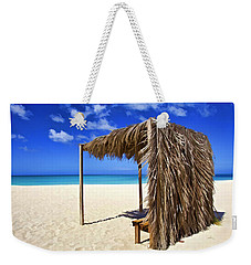 Shelter On A White Sandy Caribbean Beach With A Blue Sky And White Clouds Weekender Tote Bag