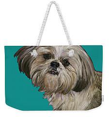 Shih Tzu On Turquoise Weekender Tote Bag