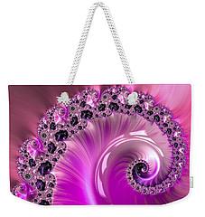 Shiny Pink Fractal Spiral Weekender Tote Bag by Matthias Hauser